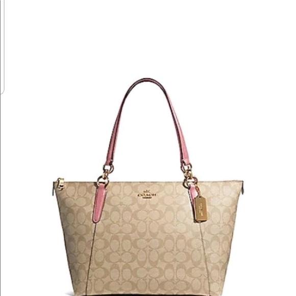 Coach Handbags - Coach tan purse with pink handle. Like new.